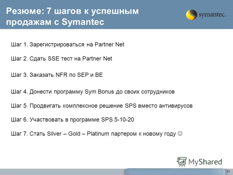 17 Резюме: 7 шагов к успешным продажам с Symantec Шаг 1. Зарегистрироваться на Partner Net Шаг 2. Сдать SSE тест на Partner Net Шаг 3. Заказать NFR по SEP и BE Шаг 4. Донести программу Sym Bonus до своих сотрудников Шаг 5. Продвигать комплексное реше