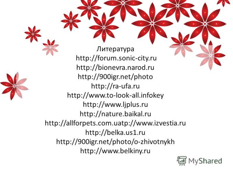 Литература http://forum.sonic-city.ru http://bionevra.narod.ru http://900igr.net/photo http://ra-ufa.ru http://www.to-look-all.infokey http://www.ljplus.ru http://nature.baikal.ru http://allforpets.com.uatp://www.izvestia.ru http://belka.us1.ru http: