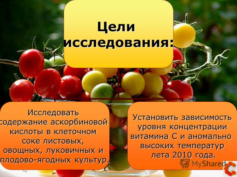 Целиисследования: Исследовать содержание аскорбиновой кислоты в клеточном соке листовых, овощных, луковичных и плодово-ягодных культур. Установить зависимость уровня концентрации уровня концентрации витамина С и аномально высоких температур лета 2010