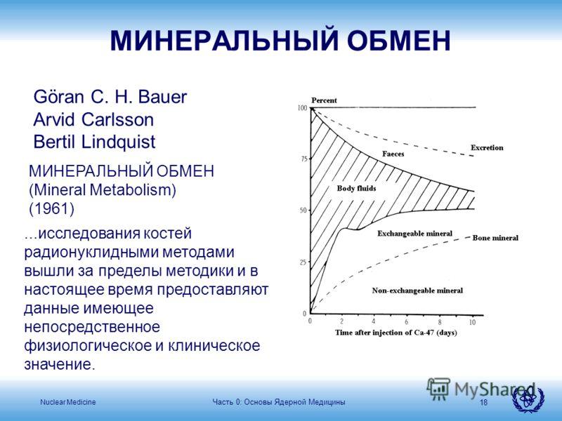 Nuclear Medicine 18 Göran C. H. Bauer Arvid Carlsson Bertil Lindquist МИНЕРАЛЬНЫЙ ОБМЕН (Mineral Metabolism) (1961)...исследования костей радионуклидными методами вышли за пределы методики и в настоящее время предоставляют данные имеющее непосредстве