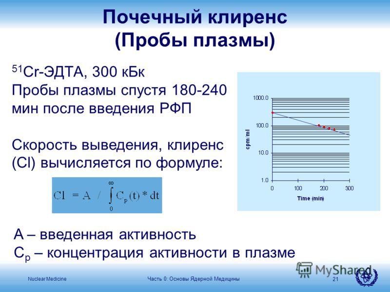 Nuclear Medicine 21 51 Cr-ЭДТА, 300 кБк Пробы плазмы спустя 180-240 мин после введения РФП Скорость выведения, клиренс (Cl) вычисляется по формуле: A – введенная активность C p – концентрация активности в плазме Почечный клиренс (Пробы плазмы) Часть