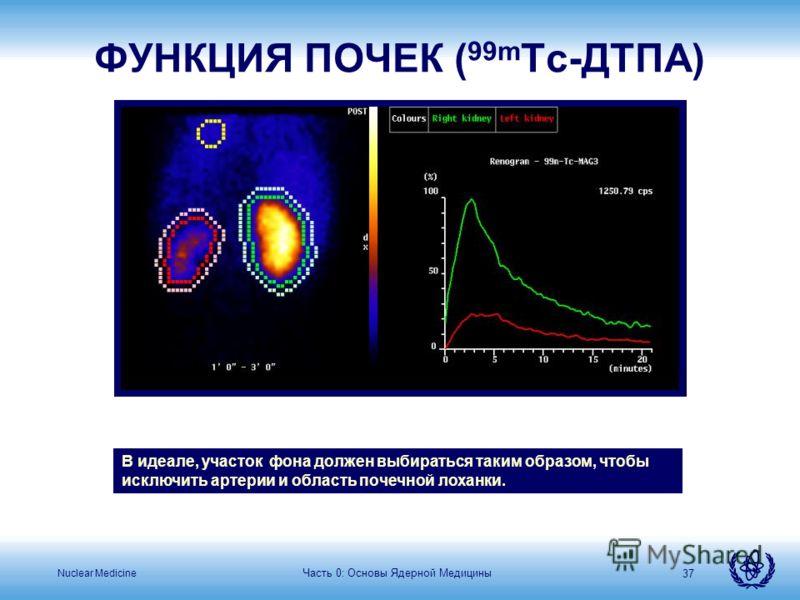 Nuclear Medicine Часть 0: Основы Ядерной Медицины 37 В идеале, участок фона должен выбираться таким образом, чтобы исключить артерии и область почечной лоханки. ФУНКЦИЯ ПОЧЕК ( 99m Tc-ДТПА)