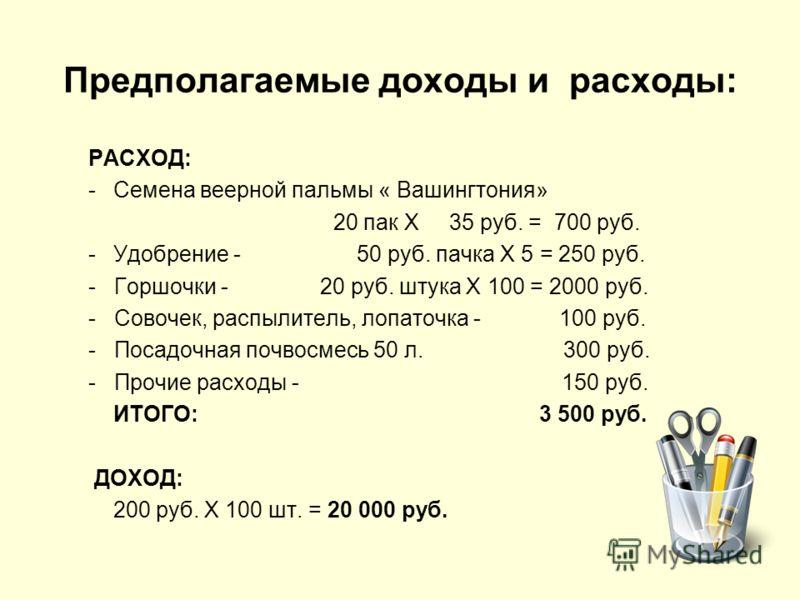 Предполагаемые доходы и расходы: РАСХОД: -Семена веерной пальмы « Вашингтония» 20 пак Х 35 руб. = 700 руб. -Удобрение - 50 руб. пачка Х 5 = 250 руб. - Горшочки - 20 руб. штука Х 100 = 2000 руб. - Совочек, распылитель, лопаточка - 100 руб. - Посадочна