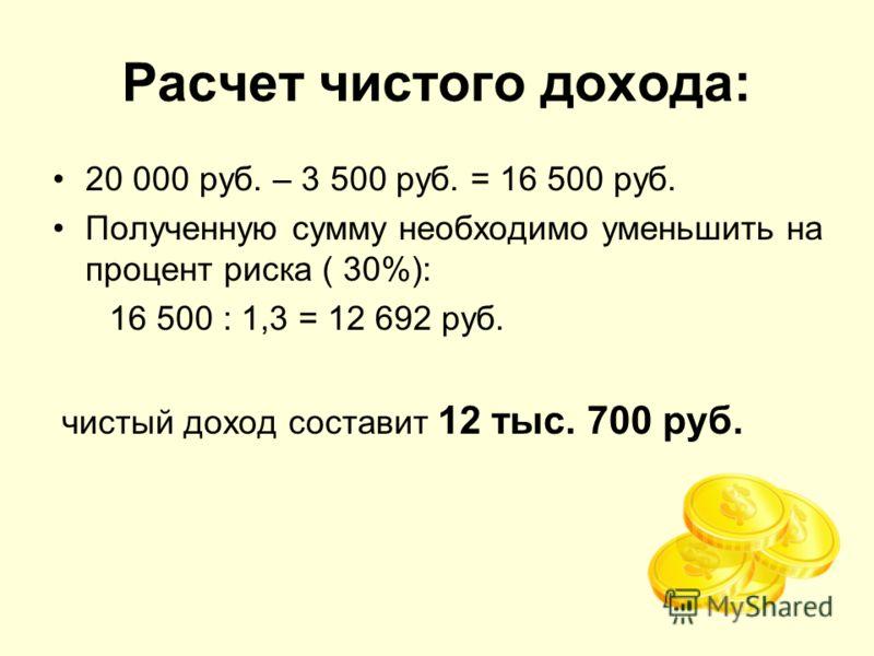 Расчет чистого дохода: 20 000 руб. – 3 500 руб. = 16 500 руб. Полученную сумму необходимо уменьшить на процент риска ( 30%): 16 500 : 1,3 = 12 692 руб. чистый доход составит 12 тыс. 700 руб.