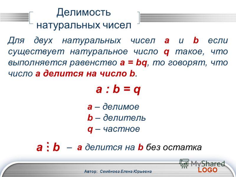 LOGO Делимость натуральных чисел Автор: Семёнова Елена Юрьевна Для двух натуральных чисел a и b если существует натуральное число q такое, что выполняется равенство a = bq, то говорят, что число a делится на число b. a – делимое b – делитель q – част