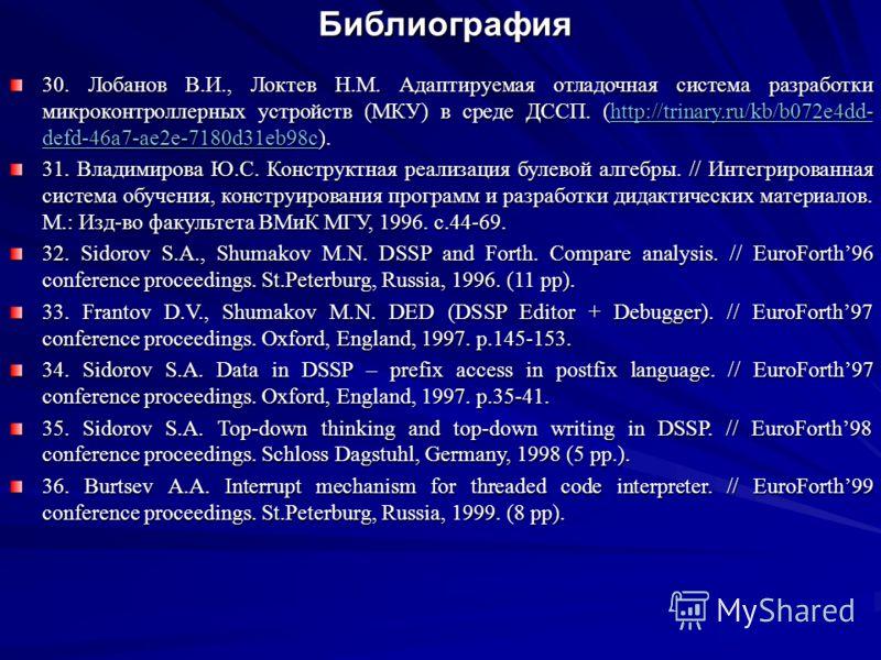 Библиография Библиография 30. Лобанов В.И., Локтев Н.М. Адаптируемая отладочная система разработки микроконтроллерных устройств (МКУ) в среде ДССП. (http://trinary.ru/kb/b072e4dd- defd-46a7-ae2e-7180d31eb98c). http://trinary.ru/kb/b072e4dd- defd-46a7