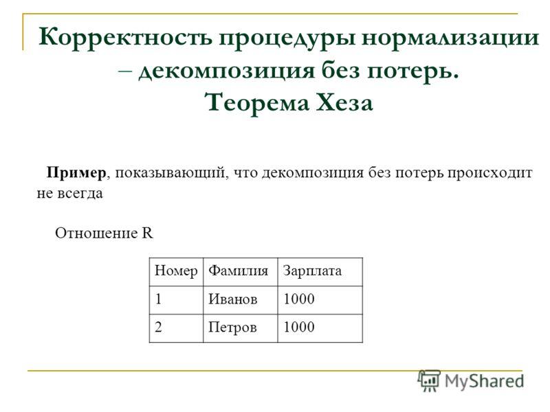 Корректность процедуры нормализации – декомпозиция без потерь. Теорема Хеза Пример, показывающий, что декомпозиция без потерь происходит не всегда Отношение R НомерФамилияЗарплата 1Иванов1000 2Петров1000