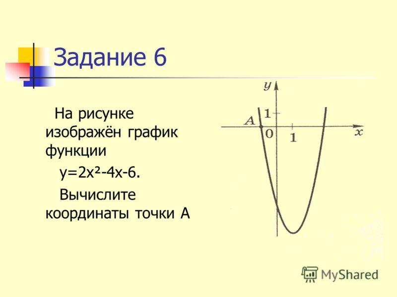 Задание 6 На рисунке изображён график функции у=2х²-4х-6. Вычислите координаты точки А