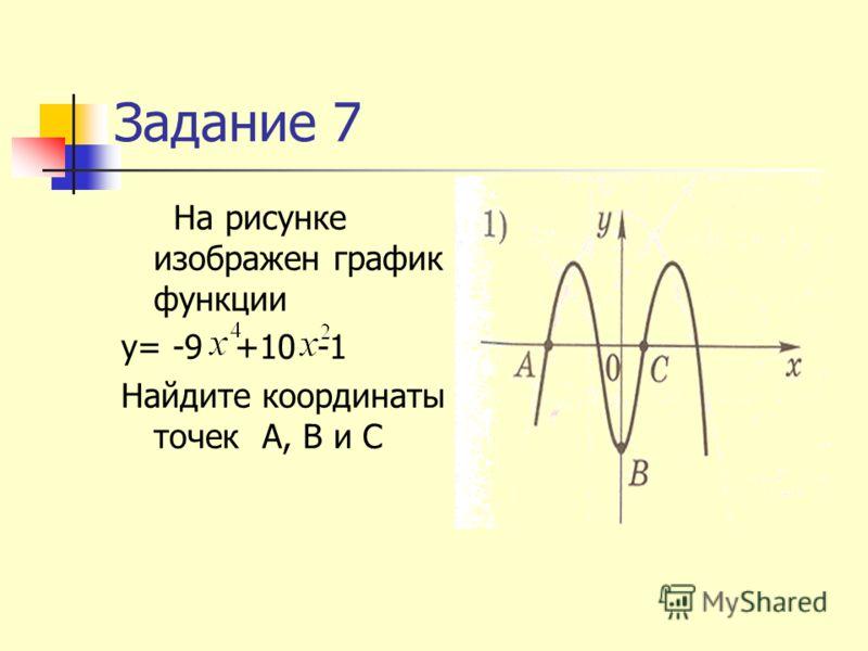 Задание 7 На рисунке изображен график функции y= -9 +10 -1 Найдите координаты точек А, В и С