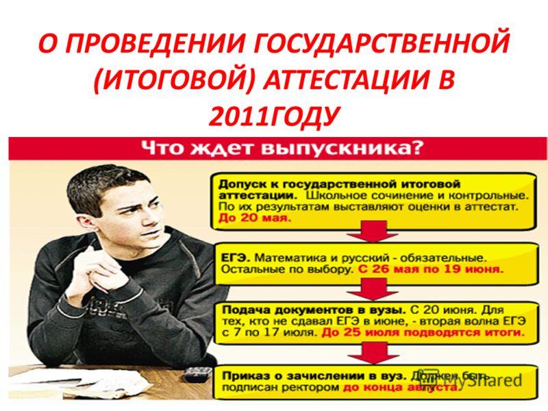 О ПРОВЕДЕНИИ ГОСУДАРСТВЕННОЙ (ИТОГОВОЙ) АТТЕСТАЦИИ В 2011ГОДУ