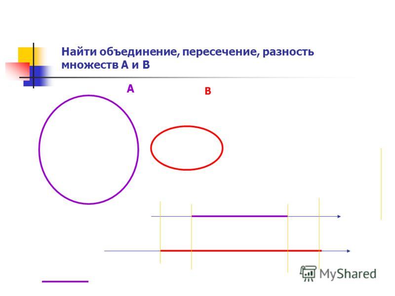 Найти объединение, пересечение, разность множеств А и В А В