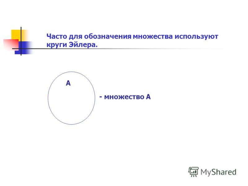 Часто для обозначения множества используют круги Эйлера. А - множество А