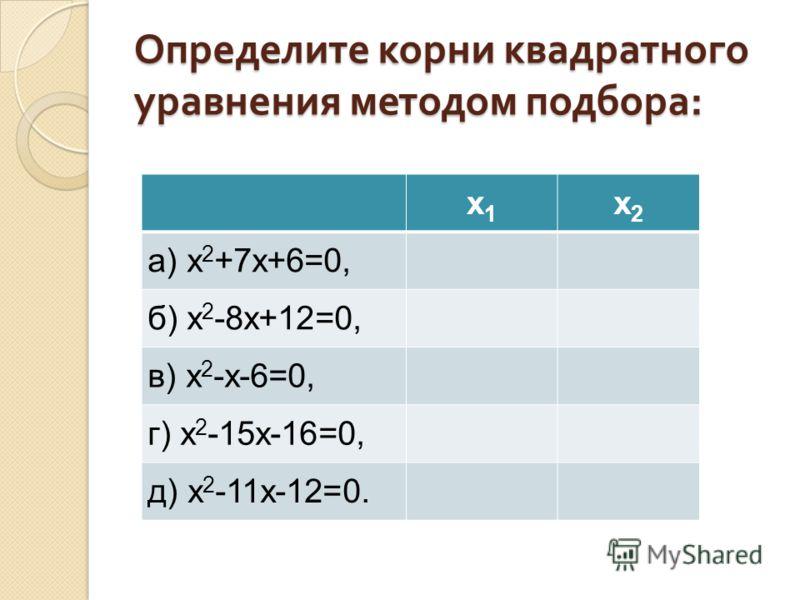 Определите корни квадратного уравнения методом подбора : х1х1 х2х2 a) х 2 +7х+6=0, б) х 2 -8х+12=0, в) х 2 -х-6=0, г) х 2 -15х-16=0, д) х 2 -11х-12=0.