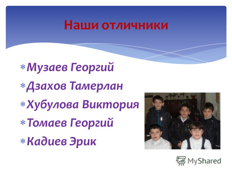 Музаев Георгий Дзахов Тамерлан Хубулова Виктория Томаев Георгий Кадиев Эрик Наши отличники