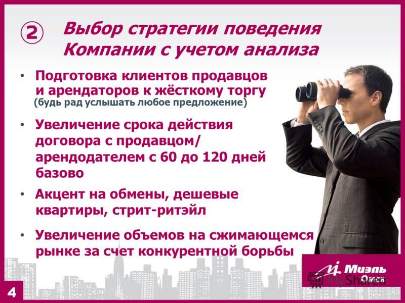 Выбор стратегии поведения Компании с учетом анализа Подготовка клиентов продавцов и арендаторов к жёсткому торгу (будь рад услышать любое предложение) Увеличение срока действия договора с продавцом/ арендодателем с 60 до 120 дней базово Акцент на обм