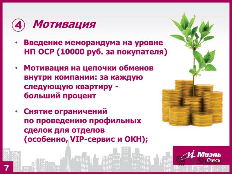 Мотивация Введение меморандума на уровне НП ОСР (10000 руб. за покупателя) Мотивация на цепочки обменов внутри компании: за каждую следующую квартиру - больший процент Снятие ограничений по проведению профильных сделок для отделов (особенно, VIP-серв