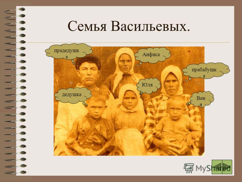Семья Васильевых. прадедушк а Анфиса прабабушк а дедушка Юля Вен я