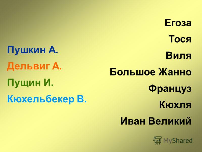 Пушкин А. Дельвиг А. Пущин И. Кюхельбекер В. Егоза Тося Виля Большое Жанно Француз Кюхля Иван Великий