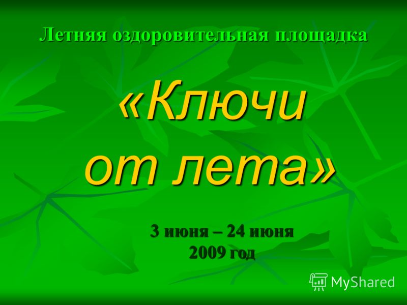 Летняя оздоровительная площадка «Ключи от лета» 3 июня – 24 июня 2009 год