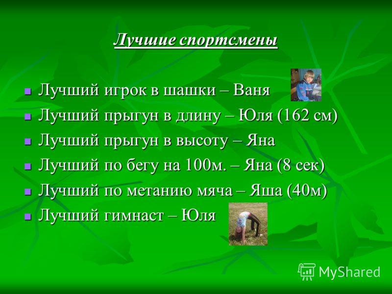 Лучшие спортсмены Лучший игрок в шашки – Ваня Лучший игрок в шашки – Ваня Лучший прыгун в длину – Юля (162 см) Лучший прыгун в длину – Юля (162 см) Лучший прыгун в высоту – Яна Лучший прыгун в высоту – Яна Лучший по бегу на 100м. – Яна (8 сек) Лучший