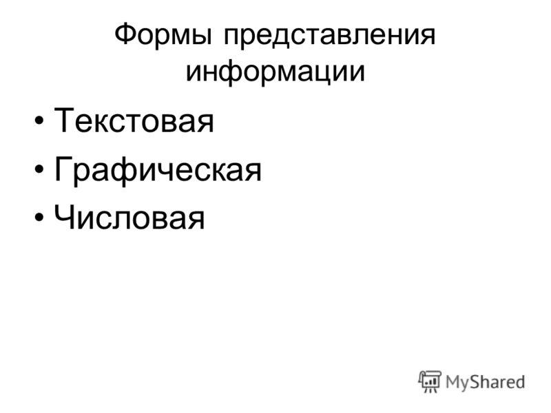 Формы представления информации Текстовая Графическая Числовая