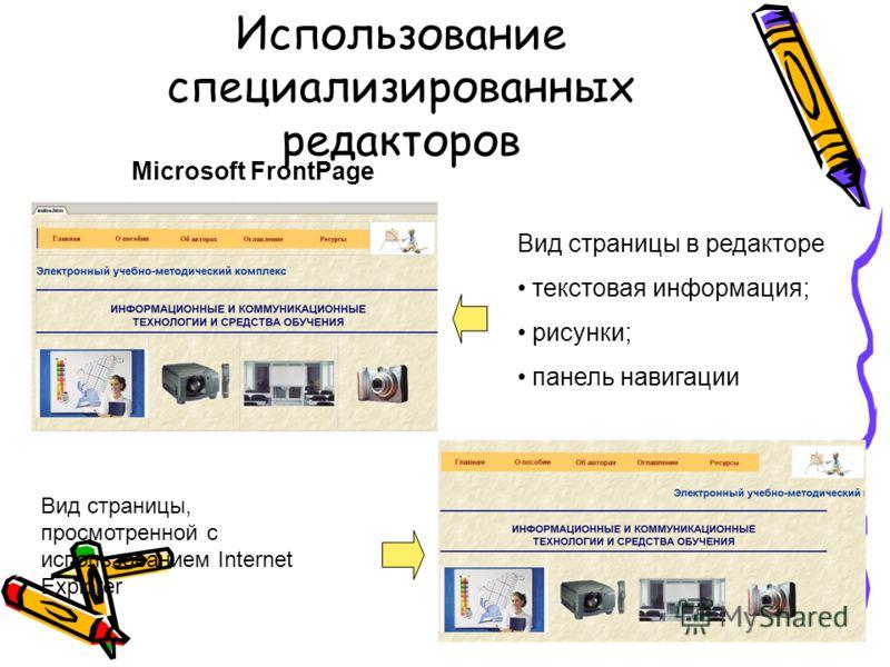 Использование специализированных редакторов Вид страницы в редакторе текстовая информация; рисунки; панель навигации Вид страницы, просмотренной с использованием Internet Explorer Microsoft FrontPage