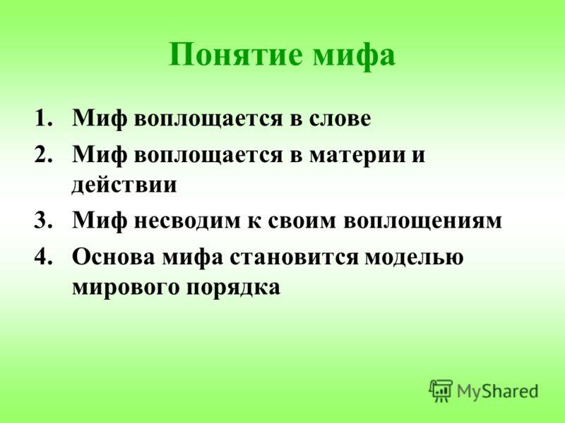 Понятие мифа 1.Миф воплощается в слове 2.Миф воплощается в материи и действии 3.Миф несводим к своим воплощениям 4.Основа мифа становится моделью мирового порядка