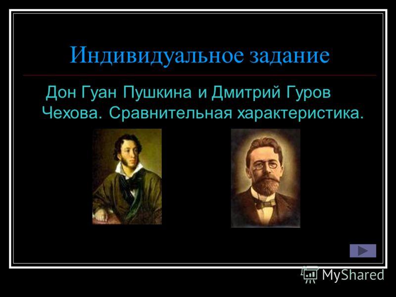 Индивидуальное задание Дон Гуан Пушкина и Дмитрий Гуров Чехова. Сравнительная характеристика.