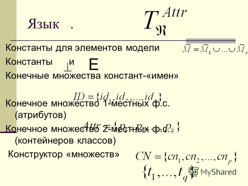Язык. Константы для элементов модели Константы и Конечные множества констант-«имен» Конечное множество 1-местных ф.с. (атрибутов) Конечное множество 2-местных ф.с. (контейнеров классов) Конструктор «множеств»