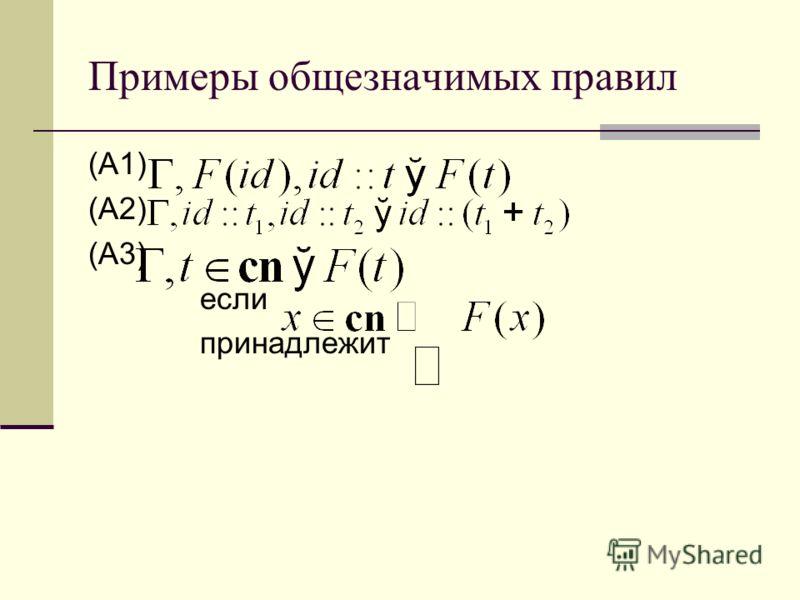 Примеры общезначимых правил (А1) (А2) (А3) если принадлежит