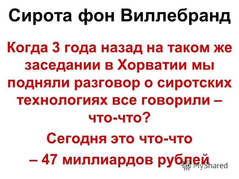 Сирота фон Виллебранд Когда 3 года назад на таком же заседании в Хорватии мы подняли разговор о сиротских технологиях все говорили – что-что? Сегодня это что-что – 47 миллиардов рублей