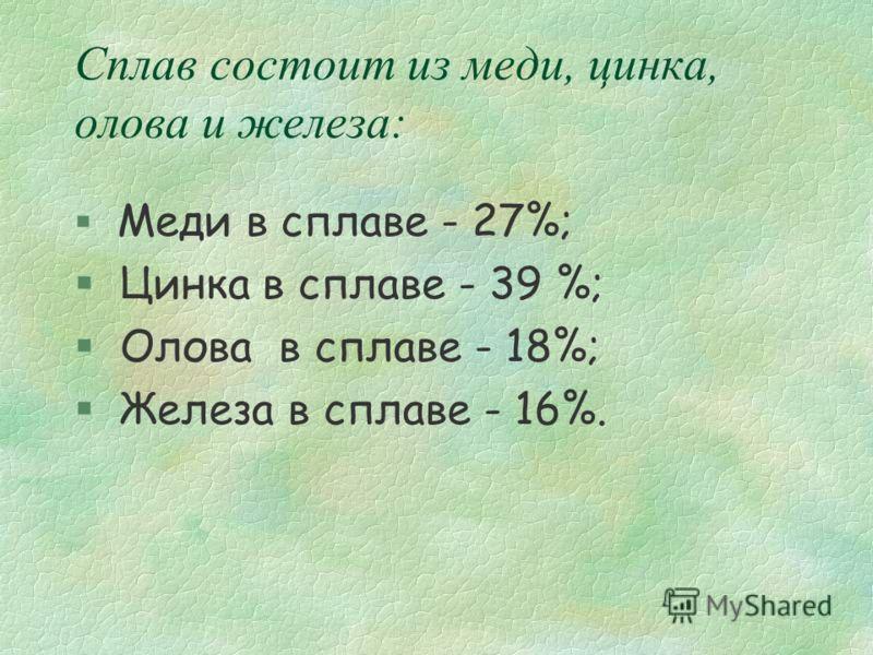 Сплав состоит из меди, цинка, олова и железа: Меди в сплаве - 27%; § Цинка в сплаве - 39 %; § Олова в сплаве - 18%; § Железа в сплаве - 16%.