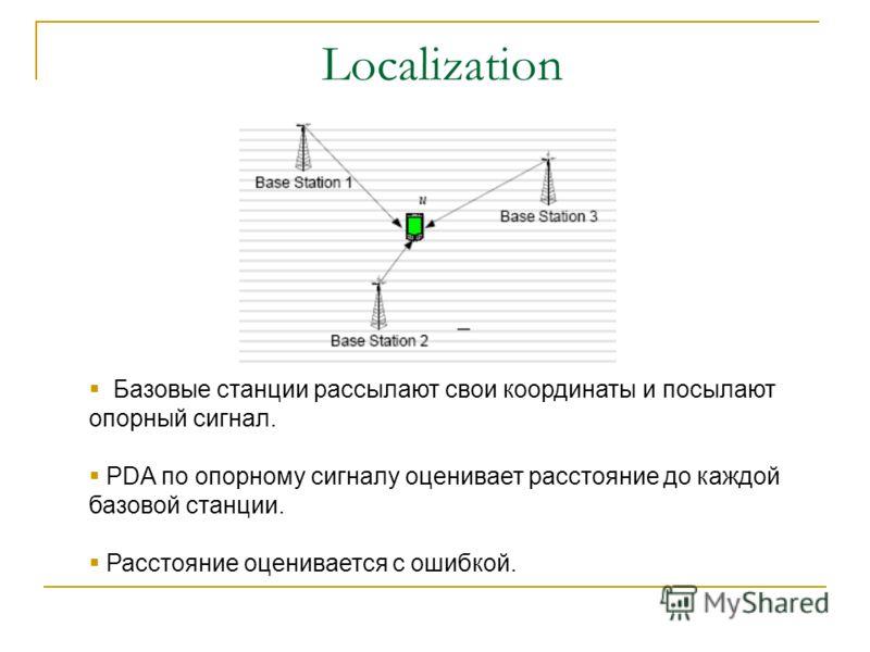 Localization Базовые станции рассылают свои координаты и посылают опорный сигнал. PDA по опорному сигналу оценивает расстояние до каждой базовой станции. Расстояние оценивается с ошибкой.