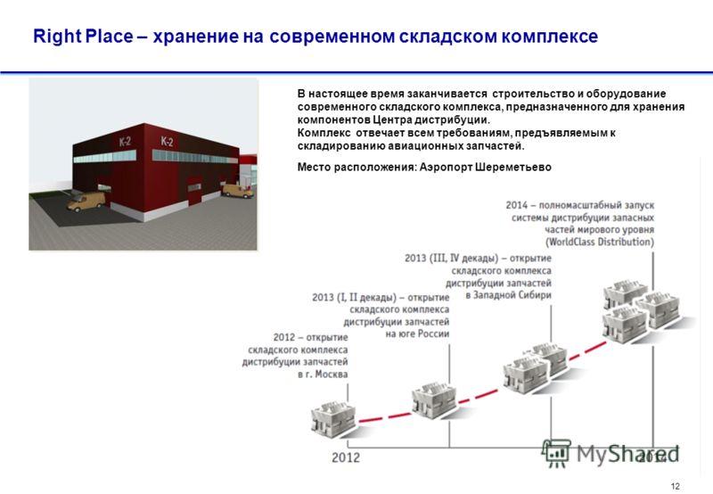 11 Right Place – максимальное приближение складских запасов к эксплуатантам Центр Дистрибуции предлагает компоненты со склада, расположенного в московском аэроузле – сосредоточении операторов, станций ТО и логистических потоков. Благодаря подобному р