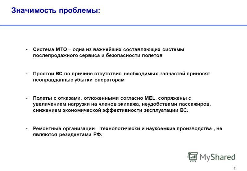 1 Проблема: Отсутствие на территории РФ адекватной современным требованиям эксплуатации иностранных ВС системы МТО, отвечающей нуждам авиакомпаний в полном объеме. Факторы, обуславливающие проблему: Отсутствие в России складов, с широкой номенклатуро