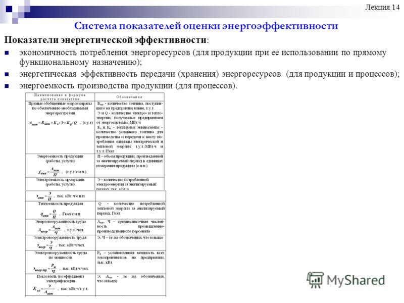 Система показателей оценки энергоэффективности Показатели энергетической эффективности : экономичность потребления энергоресурсов (для продукции при ее использовании по прямому функциональному назначению); энергетическая эффективность передачи (хране