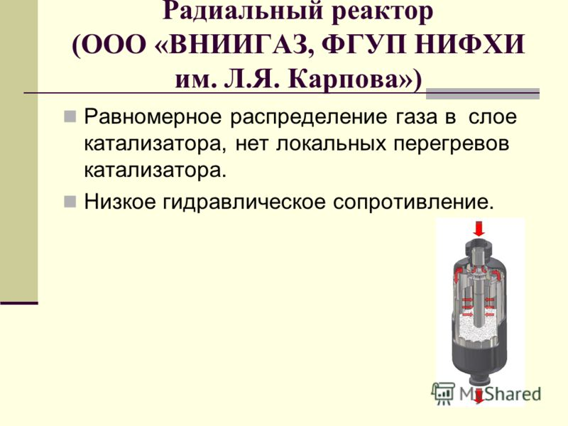 Радиальный реактор (ООО «ВНИИГАЗ, ФГУП НИФХИ им. Л.Я. Карпова») Равномерное распределение газа в слое катализатора, нет локальных перегревов катализатора. Низкое гидравлическое сопротивление.