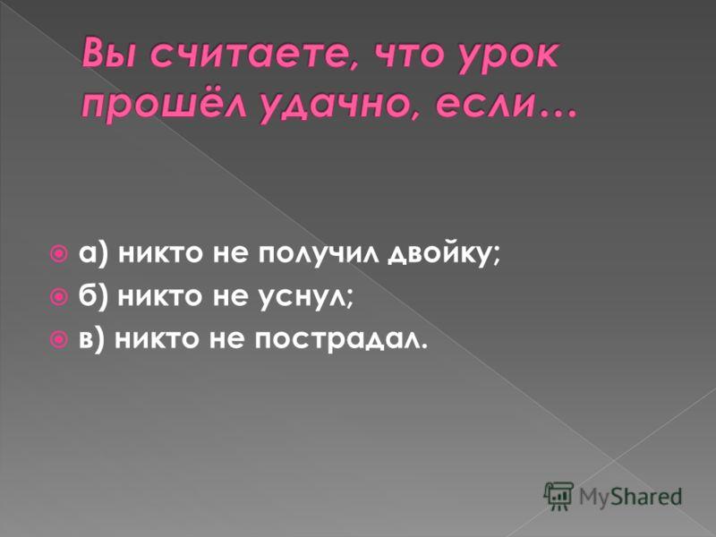 а) никто не получил двойку; б) никто не уснул; в) никто не пострадал.
