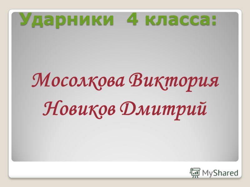 Ударники 4 класса: Мосолкова Виктория Новиков Дмитрий