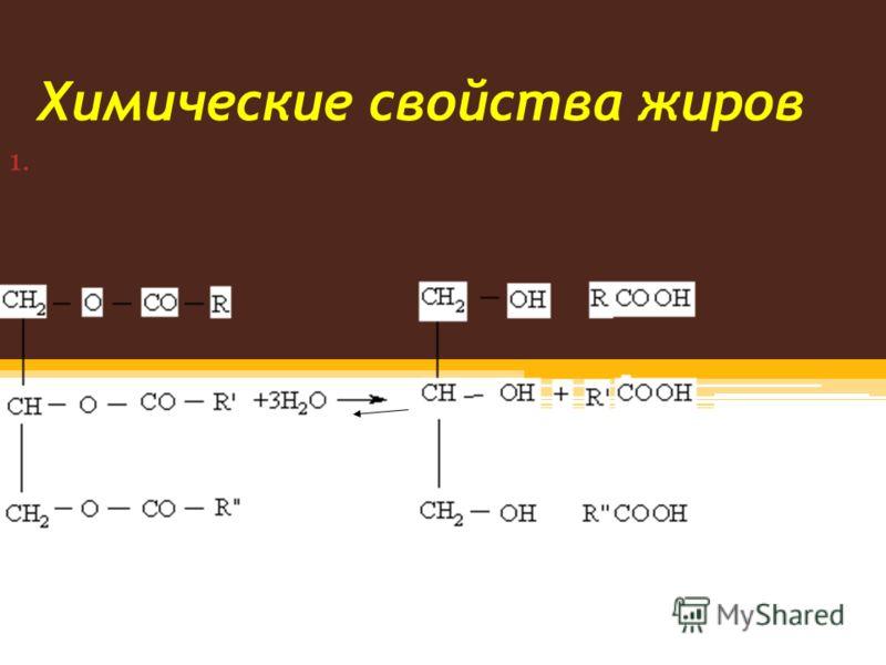 Химические свойства жиров 1.Гидролиз жиров под действием воды протекает обратимо: