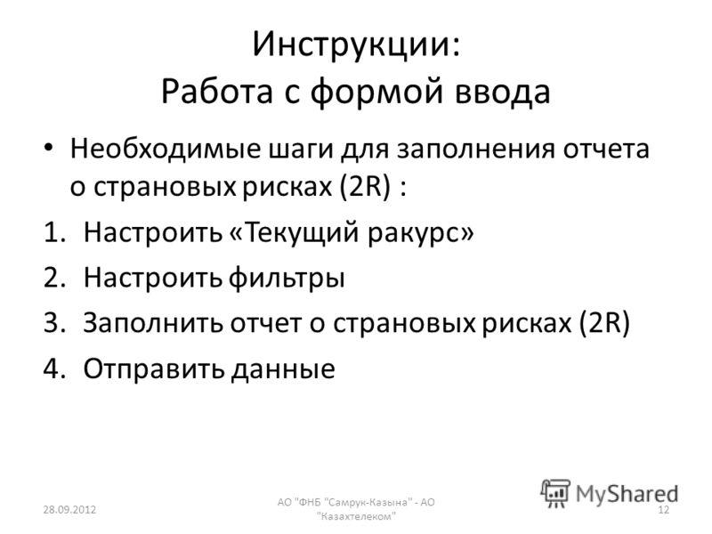 Инструкции: Работа с формой ввода Необходимые шаги для заполнения отчетa о страновых рисках (2R) : 1.Настроить «Текущий ракурс» 2.Настроить фильтры 3.Заполнить oтчет о страновых рисках (2R) 4.Отправить данные 28.09.2012 АО