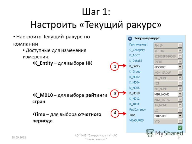 Шаг 1: Настроить «Текущий ракурс» 28.09.2012 АО