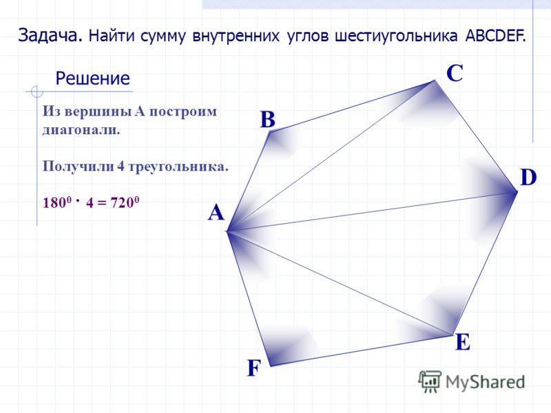 Задача. Найти сумму внутренних углов шестиугольника ABCDEF. Решение Из вершины А построим диагонали. Получили 4 треугольника. 180 0 4 = 720 0 А В С D E F