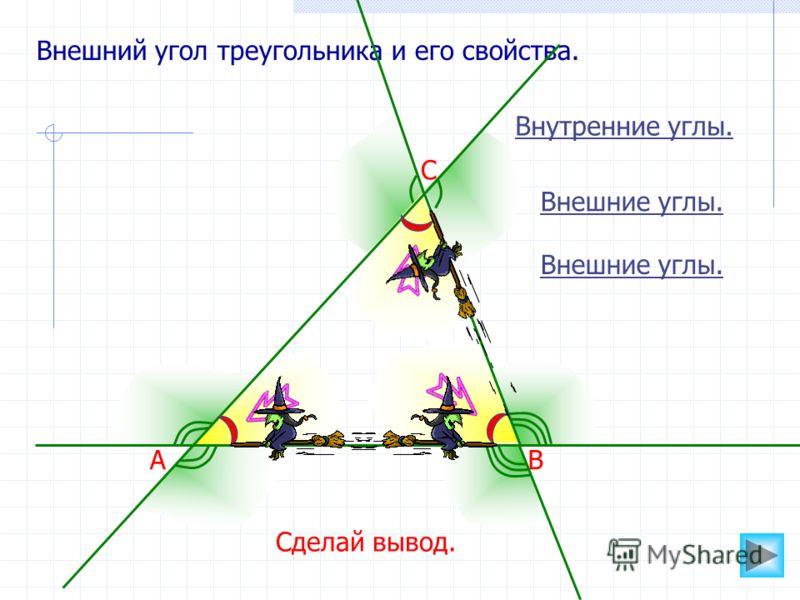 Внешний угол треугольника и его свойства. Внутренние углы. АВ С Внешние углы. Сделай вывод.