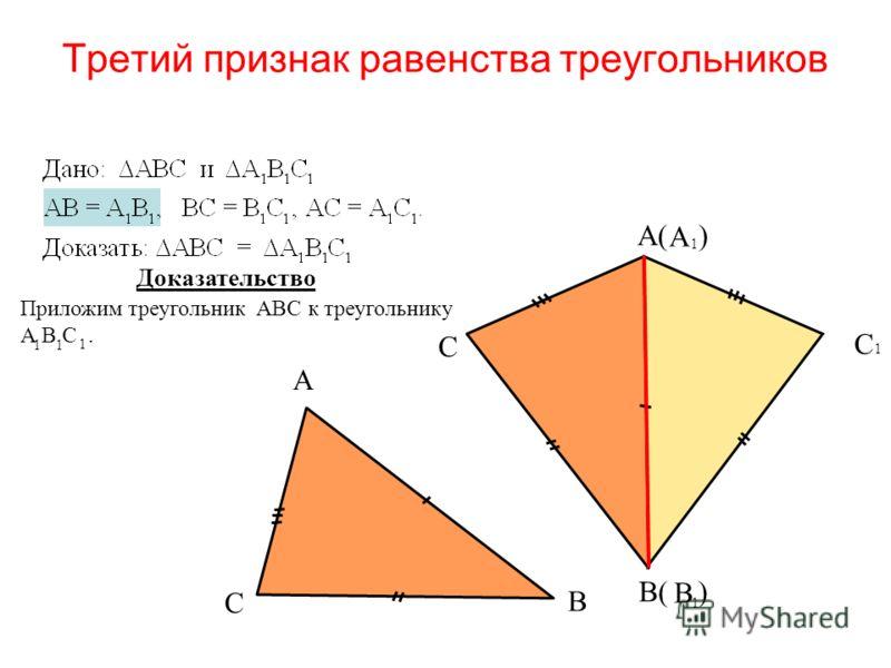 Третий признак равенства треугольников А 1 В 1 С 1 Доказательство А С В В( ) С А( ) Приложим треугольник АВС к треугольнику А В С. 1 1 1