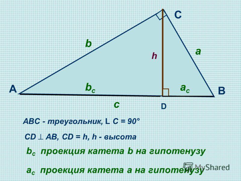C A B D ABC - треугольник, L С = 90° CD AB, CD = h, h - высота c h a b bcbc acac b c проекция катета b на гипотенузу а c проекция катета a на гипотенузу