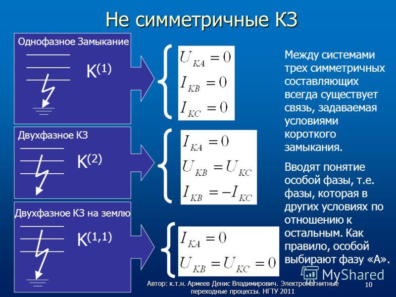 Не симметричные КЗ K (2) K (1) K (1,1) Двухфазное КЗ Двухфазное КЗ на землю Однофазное Замыкание Между системами трех симметричных составляющих всегда существует связь, задаваемая условиями короткого замыкания. Вводят понятие особой фазы, т.е. фазы,