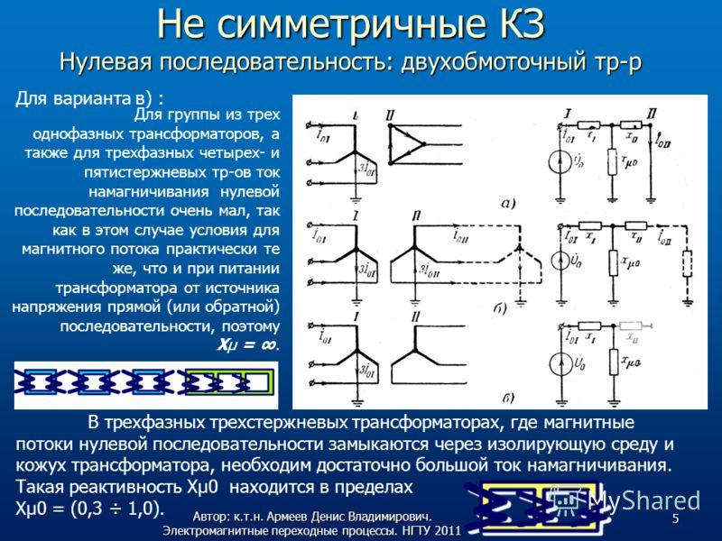 Не симметричные КЗ Нулевая последовательность: двухобмоточный тр-р Для варианта в) : Для группы из трех однофазных трансформаторов, а также для трехфазных четырех- и пятистержневых тр-ов ток намагничивания нулевой последовательности очень мал, так ка