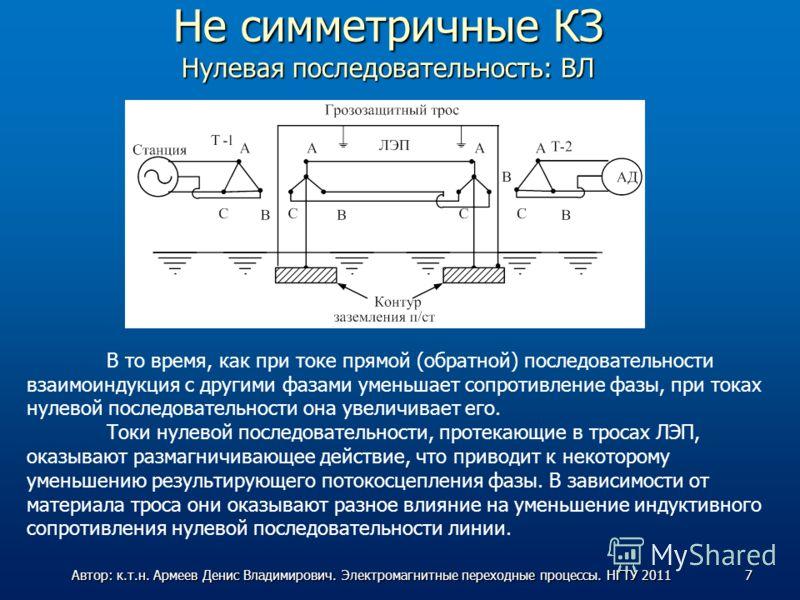 Не симметричные КЗ Нулевая последовательность: ВЛ В то время, как при токе прямой (обратной) последовательности взаимоиндукция с другими фазами уменьшает сопротивление фазы, при токах нулевой последовательности она увеличивает его. Токи нулевой после