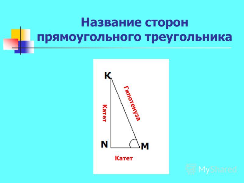 Название сторон прямоугольного треугольника Катет Гипотенуза